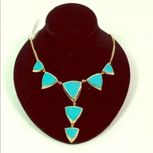 Gold Tone Turquoise Vera Bradley Triangle Necklace